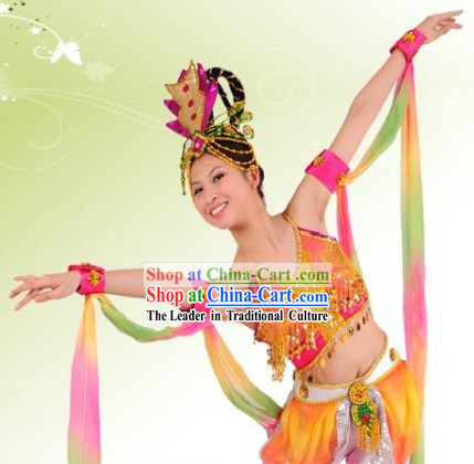 Ancient Chinese Fei Tian Dance Costume and Hair Accessories for Women