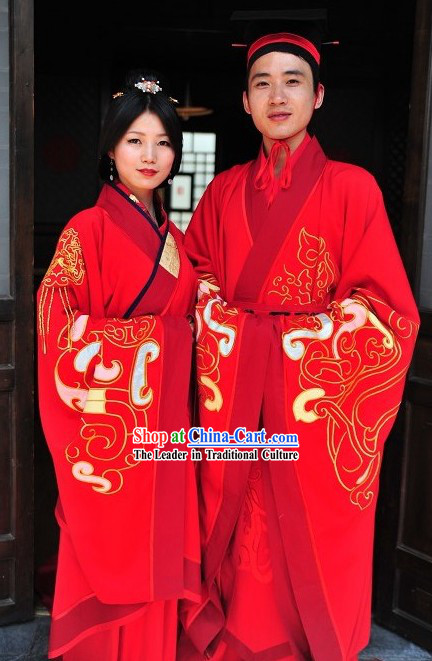 Ancient Chinese Red Hanfu Wedding Dress Two Complete Sets for Bride and Bridegroom
