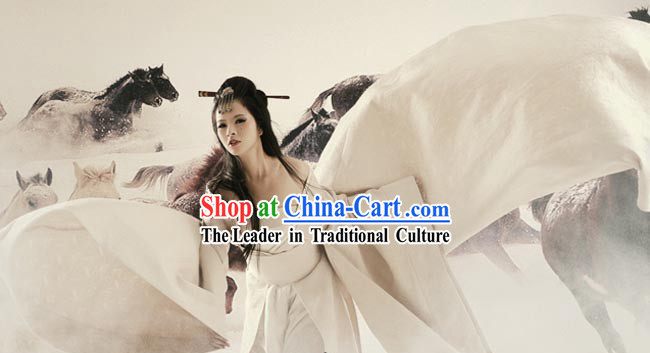 Ancient Chinese Plain White Costume for Women