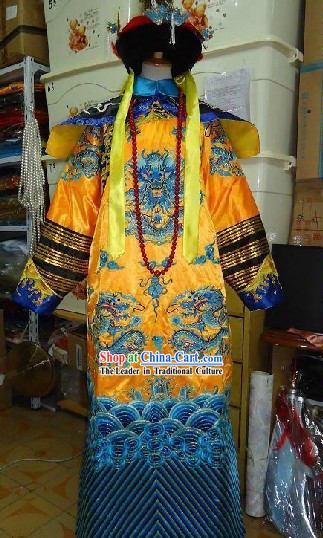 Chinese Qing Dynasty Empress Costume and Phoenix Crown Complete Set