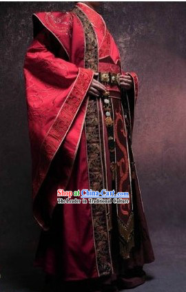 Ancient Chinese Red Hanfu Clothing for Men