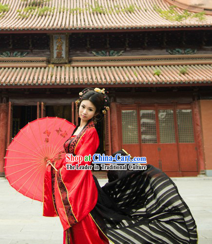 Ancient Chinese Tang Dynasty Red Female Clothing with Long Black Trail