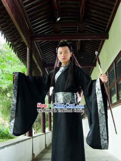Ancient Chinese Plain Black Hanfu Costume for Men