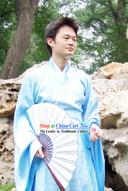 Ancient Chinese Style Light Blue Zhiju Hanfu Clothing for Men