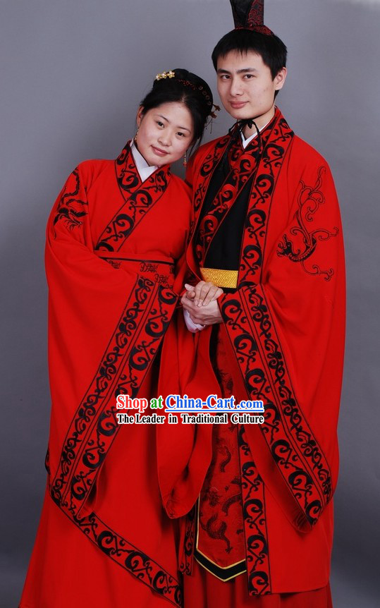 Chinese Classical Hanfu Wedding Dresses Two Complete Sets for Men and Women