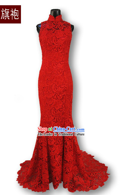 Supreme Long Tail Red Lace Palace Wedding Cheongsam Qipao for Brides