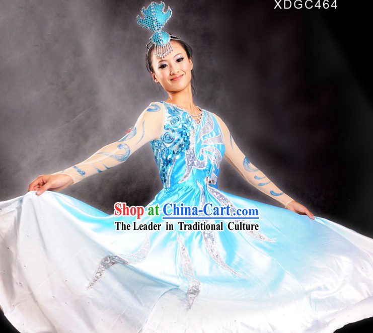 Chinese Blue Color Transition Stage Performance Opening Dance Costumes and Head Pieces
