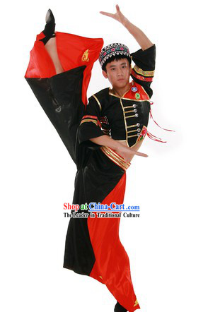 Chinese Traditional Yi Minority Dance Costume and Hat for Men
