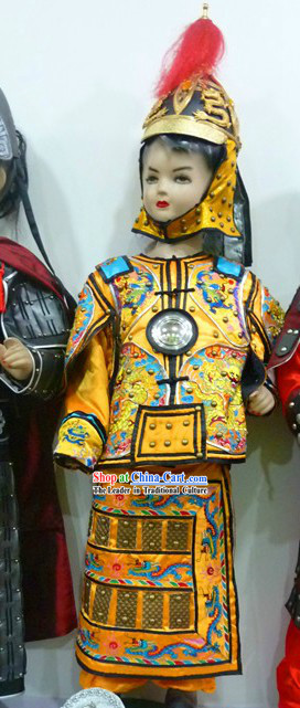 Chinese Emperor Armor Costume and Helmet Complete Set for Children