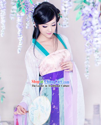 Ancient Chinese Lover Costumes and Fan and Butterfly for Women