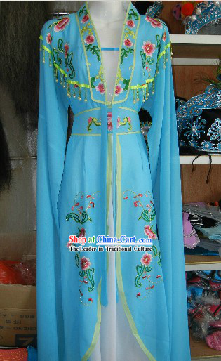 Chinese Opera Stage Performance Blue Embroidered Costumes and Skirt for Women