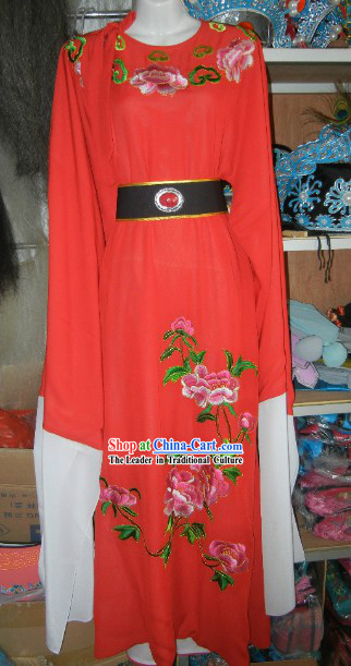 Long Sleeves Chinese Opera Embroidered Flower Baoyu Outfit for Men