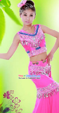 Big Festival Celebration Dai Minority Stage Performance Dance Costume and Headwear for Women