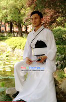 Traditional Chinese Pure White Hanfu Robe for Men