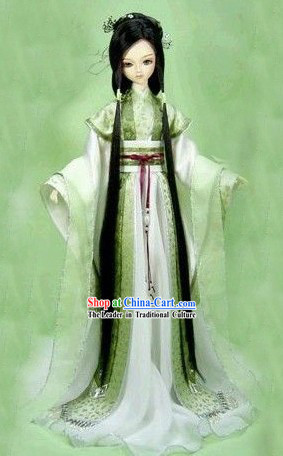 Ancient Chinese Green Cosplay Costumes and Hair Accessories Complete Set
