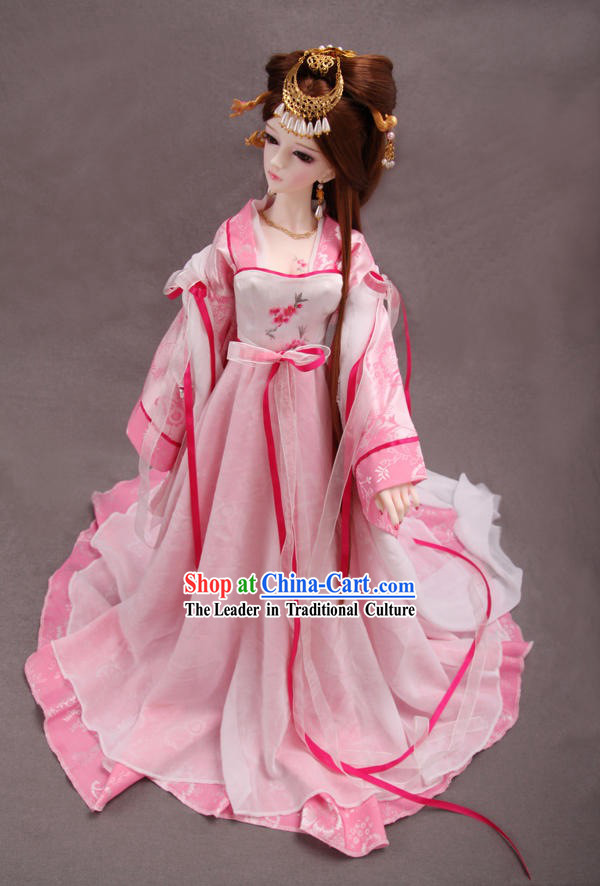 Ancient Chinese Pink Princess Costumes and Hair Accessories for Women