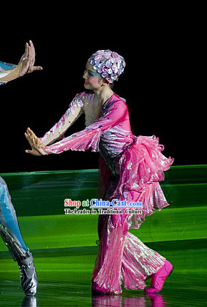 Traditional Chinese Modern Dance Costumes and Headpieces Complete Set for Women