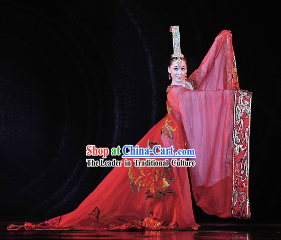 Ancient Chinese Empress Dancing Costumes and Hat Complete Set for Women
