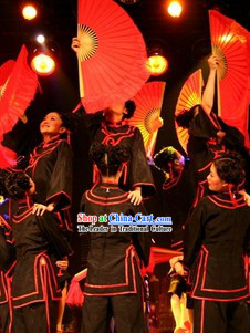 Stage Performance Black Fan Dance Costumes and Headwear Complete Set for Women