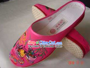 Traditional Chinese Handmade Pink Cotton Slippers with Thick Cotton Sole