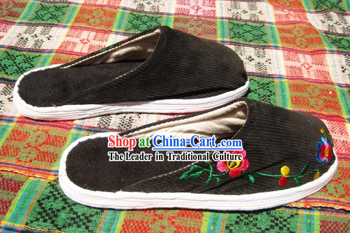Traditional Chinese Handmade Black Embroidered Cotton Slippers with Thick Cotton Sole