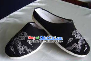 Traditional Chinese Handmade Black Cotton Slippers with Thick Cotton Sole