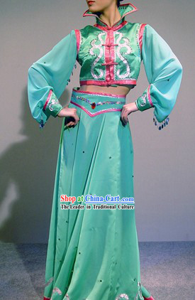Traditional Chinese Mongolian Dance Costumes Complete Set for Women