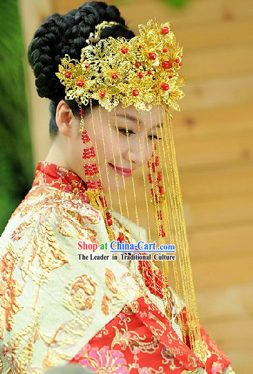 Traditional Chinese Wedding Phoenix Coronet Complete Set for Brides