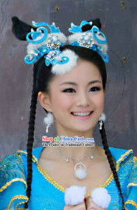 Ancient Chinese Fairy Blue and White Winter Version Hair Accessories Complete Set