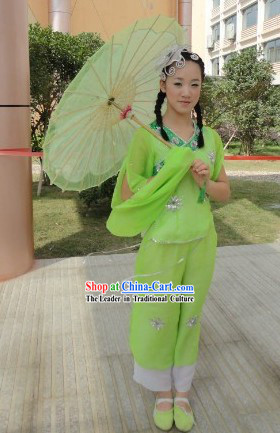 Folk Umbrella Dancing Costumes and Headpiece for Women