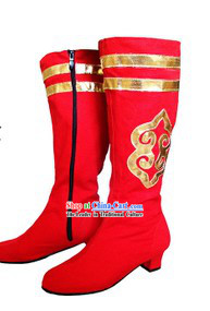 Stage Performance Red Chinese Mongolian Boots