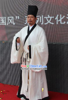 Ancient Chinese College Student Shen Yi Uniform and Hat for Men