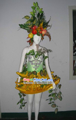 China Forest Banana Costume and Headdress Complete Set