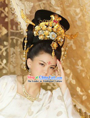Traditional Ancient Chinese Tang Dynasty Tai Ping Princess Wig and Headdress Complete Set