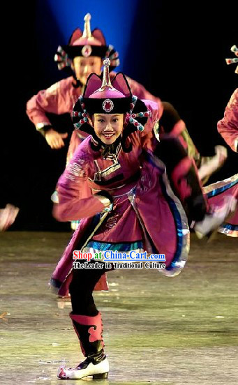 Stage Performance Mongolian Dance Costumes and Hat Complete Set for Women