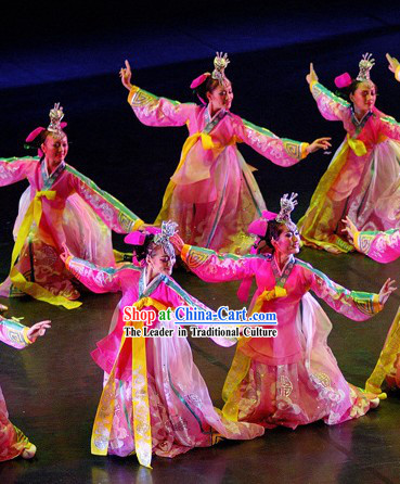 Korean Dance Costumes and Headdress Complete Set for Women