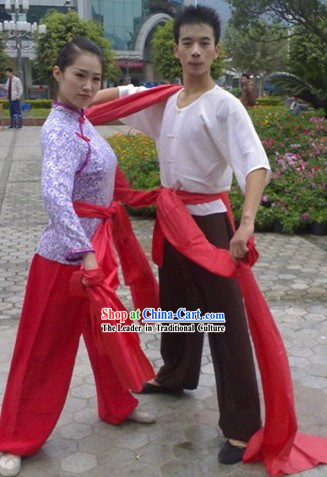 Professional Yangge Dance Costumes Two Complete Sets for Men and Women