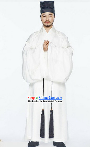 Ancient China Song Dynasty Male White Chinese Hanfu Clothing Complete Set for Men