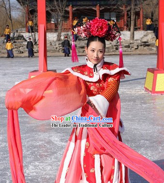 Chinese Palace Long Sleeves Dancer Costume and Hair Accessories for Women