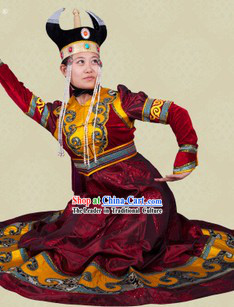 Traditional Chinese Mongolian Outfit and Hat Complete Set for Women