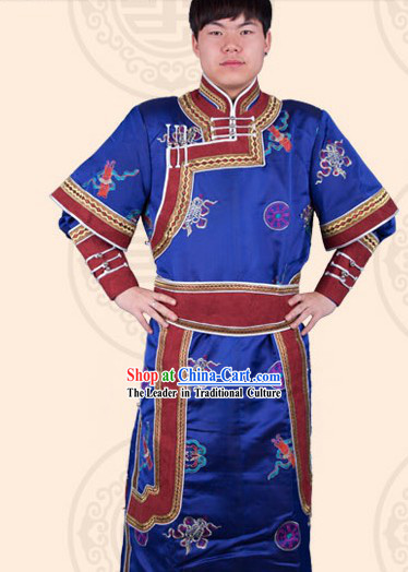 Traditional Chinese Mongolian Prince Clothing and Hat Complete Set for Men