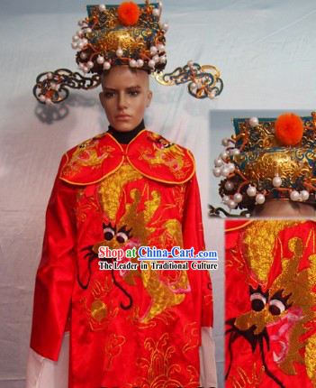 Traditional Chinese Red Cai Shen Ye Outfit and Hat Complete Set