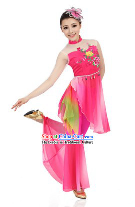 Classical Chinese Dance Costumes and Butterfly Headdress for Women