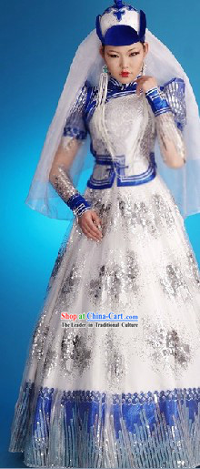 Traditional Chinese Mongolian Wedding Dress and Hat Complete Set for Women