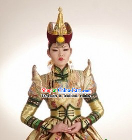 Traditional Mongolian Princess Clothes and Hat Complete Set for Women