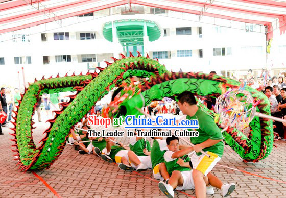 Twice Use Luminous Green Dragon Dance Head and Costume Complete Set