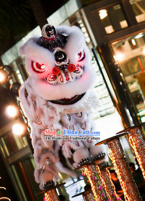 LED Eyes White Fur Opening and Celebration Lion Dance Costume Complete Set