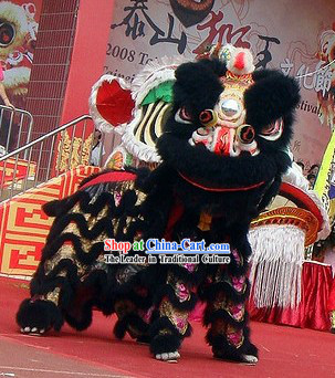 Black Fur Opening and Celebration Lion Dance Costume Complete Set
