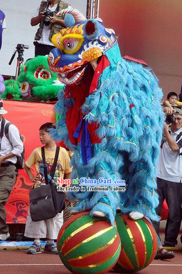 Blue Fur Big Ceremony Celebration Lion Dance Costumes Complete Set