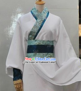 Ancient Chinese Style White Swordsman Costumes for Men